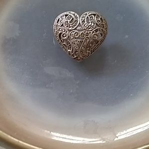Marcasite and silver heart brooch